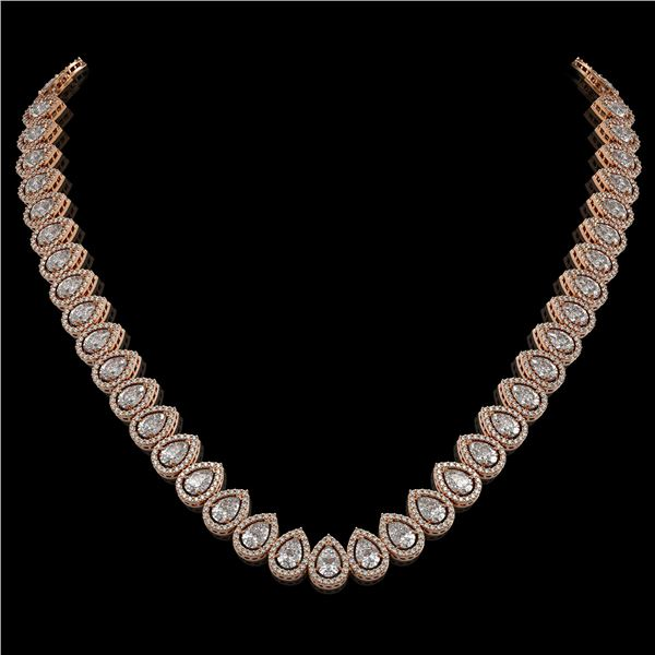 34.83 ctw Pear Cut Diamond Micro Pave Necklace 18K Rose Gold - REF-4761G8W