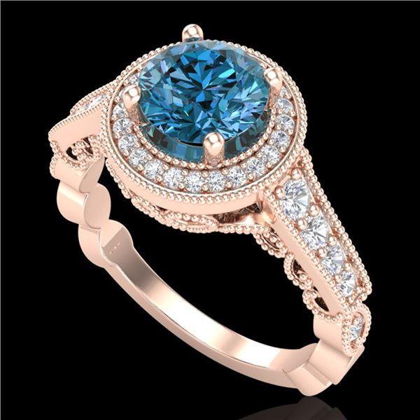 1.91 ctw Fancy Intense Blue Diamond Art Deco Ring 18k Rose Gold - REF-263R6K