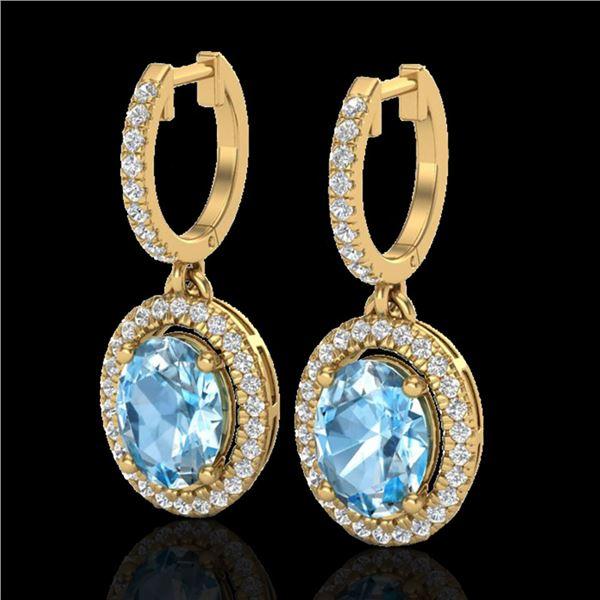 4.25 ctw Sky Blue Topaz & Micro VS/SI Diamond Earrings 18k Yellow Gold - REF-107M3G
