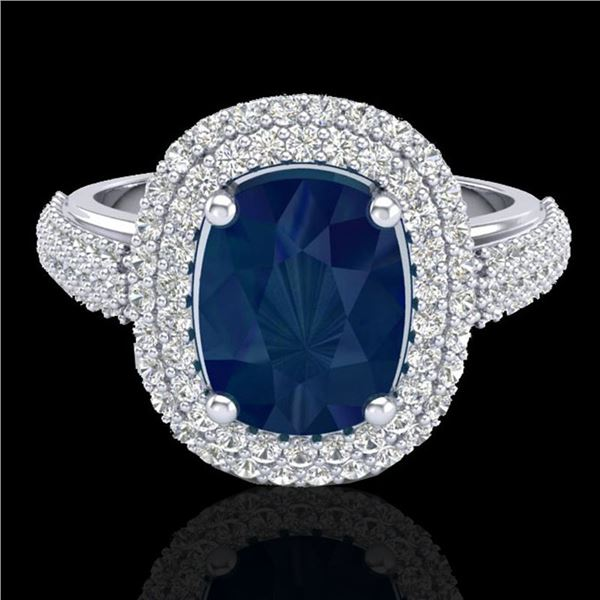 3.50 ctw Sapphire & Micro Pave VS/SI Diamond Ring 18k White Gold - REF-143A6N