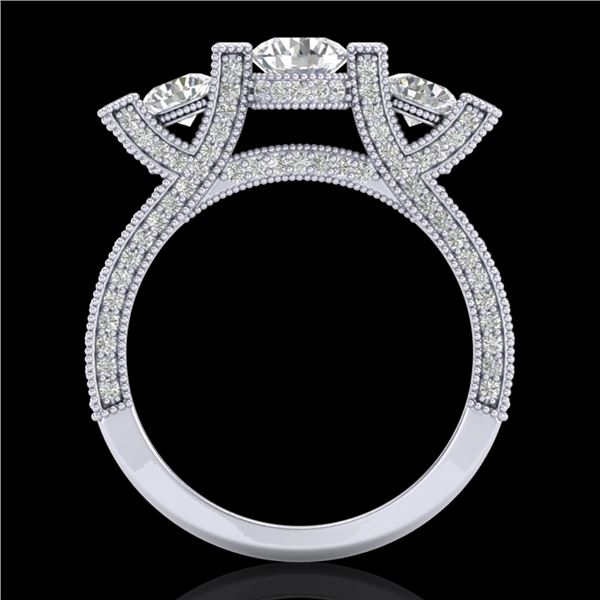 2.3 ctw VS/SI Diamond Micro Pave 3 Stone Ring 18k White Gold - REF-263K6Y