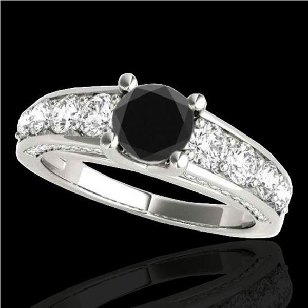 2.55 ctw Certified Black Diamond Solitaire Ring 10k White Gold - REF-121M4G