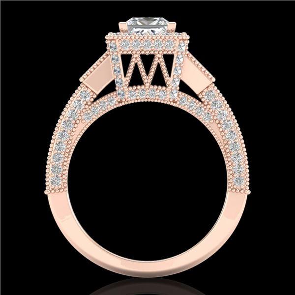 3.53 ctw Princess VS/SI Diamond Micro Pave 3 Stone Ring 18k Rose Gold - REF-540A9N