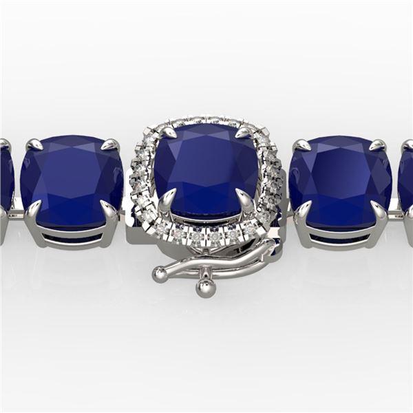 46 ctw Sapphire & Micro Pave Diamond Bracelet 14k White Gold - REF-345G5W