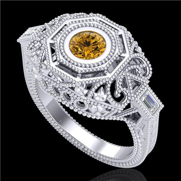 0.75 ctw Intense Fancy Yellow Diamond Art Deco Ring 18k White Gold - REF-227X3A
