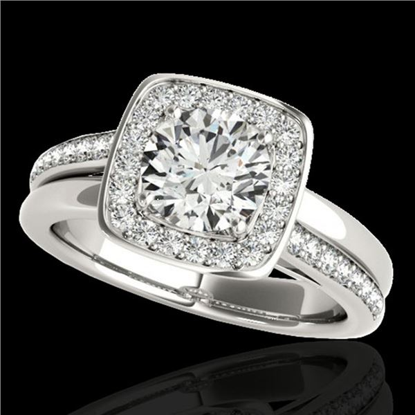 1.33 ctw Certified Diamond Solitaire Halo Ring 10k White Gold - REF-197N8F