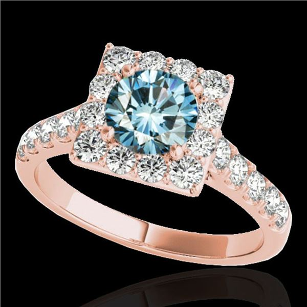 2 ctw SI Certified Blue Diamond Solitaire Halo Ring 10k Rose Gold - REF-158K2Y