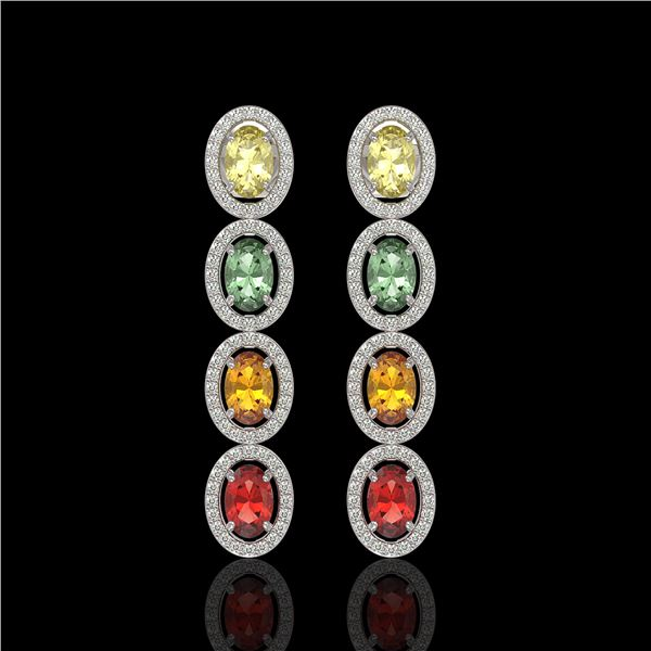 6.09 ctw Multi Color Sapphire & Diamond Micro Pave Earrings 10k White Gold - REF-143G6W