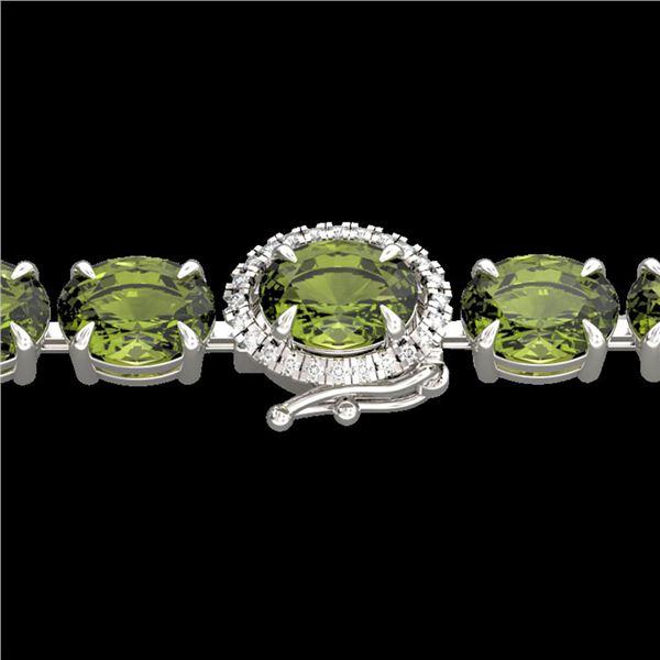 27 ctw Green Tourmaline & VS/SI Diamond Micro Bracelet 14k White Gold - REF-243Y5X