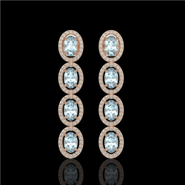 6.28 ctw Sky Topaz & Diamond Micro Pave Halo Earrings 10k Rose Gold - REF-143X6A