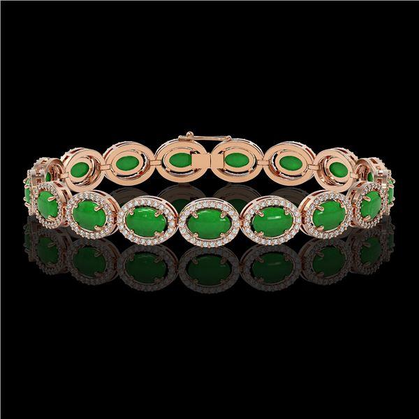 21.78 ctw Jade & Diamond Micro Pave Halo Bracelet 10k Rose Gold - REF-250R9K