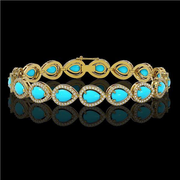 13.19 ctw Turquoise & Diamond Micro Pave Halo Bracelet 10k Yellow Gold - REF-305K8Y