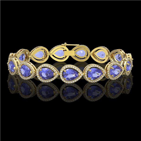 21.06 ctw Tanzanite & Diamond Micro Pave Halo Bracelet 10k Yellow Gold - REF-532M4G