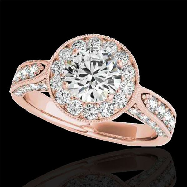 2 ctw Certified Diamond Solitaire Halo Ring 10k Rose Gold - REF-225G2W
