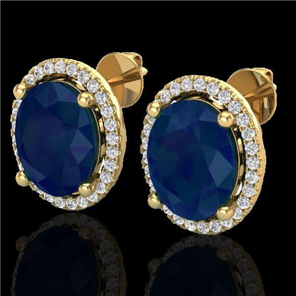 6 ctw Sapphire & Micro Pave VS/SI Diamond Earrings 18k Yellow Gold - REF-101Y8X