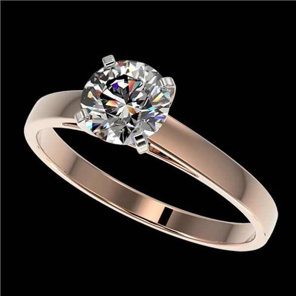 0.99 ctw Certified Quality Diamond Engagment Ring 10k Rose Gold - REF-139M2G