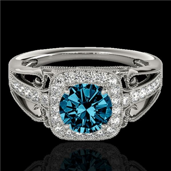 1.3 ctw SI Certified Fancy Blue Diamond Solitaire Halo Ring 10k White Gold - REF-124M2G