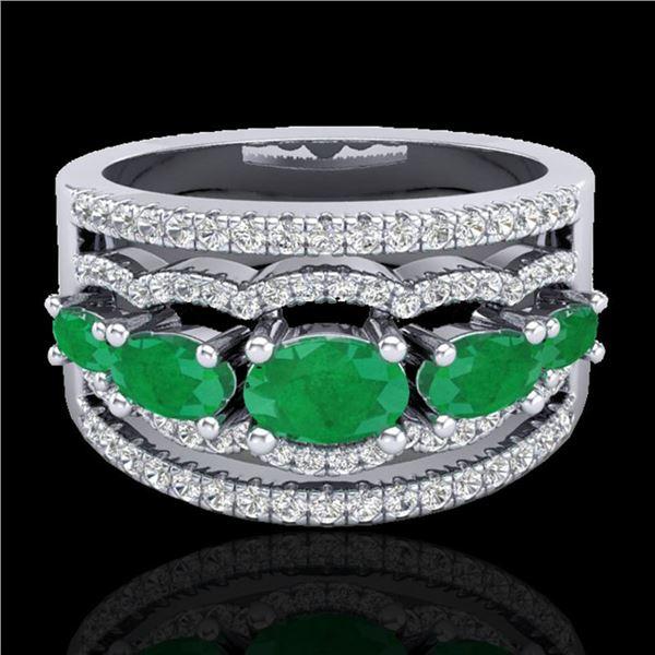 2.25 ctw Emerald & Micro Pave VS/SI Diamond Designer Ring 10k White Gold - REF-81Y8X