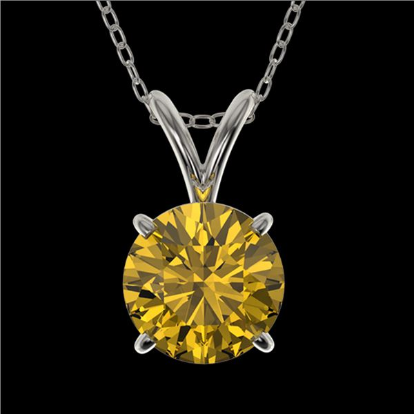 1 ctw Certified Intense Yellow Diamond Necklace 10k White Gold - REF-165G8W