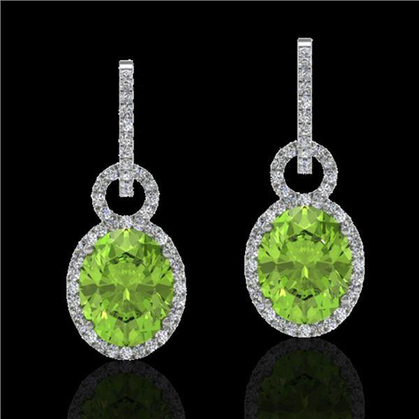 6 ctw Peridot & Micro Pave Halo VS/SI Diamond Earrings 14k White Gold - REF-104M4G