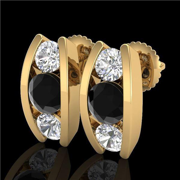 2.18 ctw Fancy Black Diamond Art Deco Stud Earrings 18k Yellow Gold - REF-170Y9X