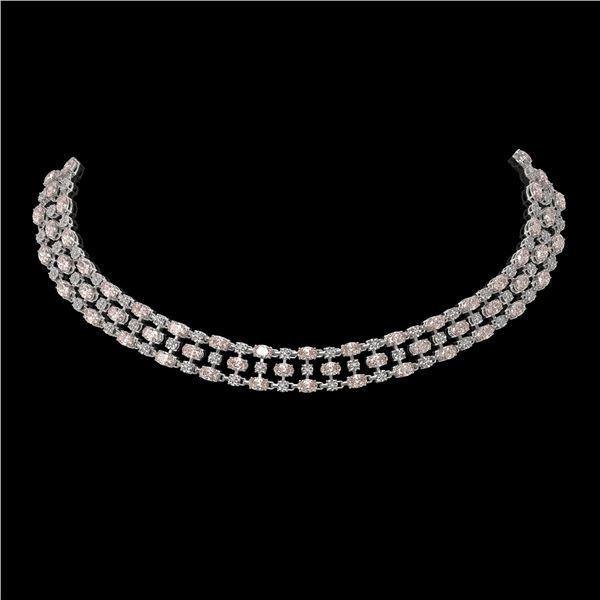 44.45 ctw Morganite & Diamond Necklace 10K White Gold - REF-709A3N