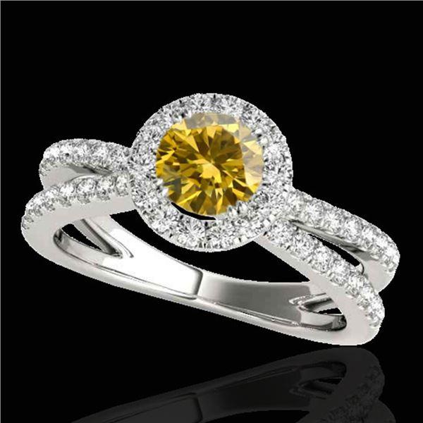 2 ctw Certified SI/I Fancy Intense Yellow Diamond Halo Ring 10k White Gold - REF-252M3G