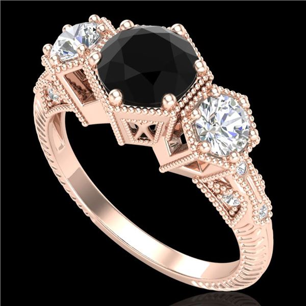 1.66 ctw Fancy Black Diamond Art Deco 3 Stone Ring 18k Rose Gold - REF-123Y3X