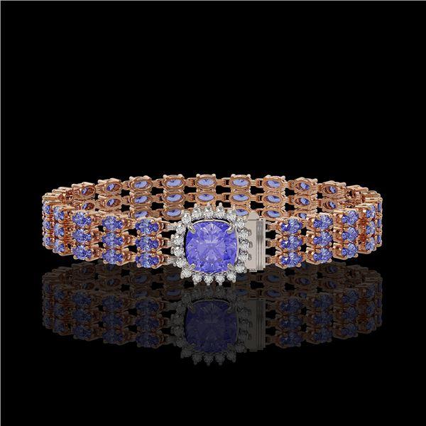 27.75 ctw Tanzanite & Diamond Bracelet 14K Rose Gold - REF-377X5A
