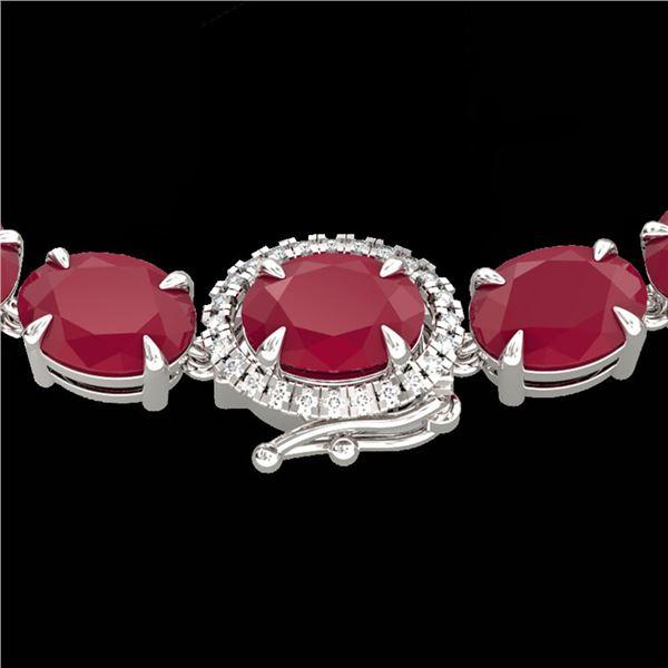 92 ctw Ruby & VS/SI Diamond Eternity Micro Necklace 14k White Gold - REF-527A3N