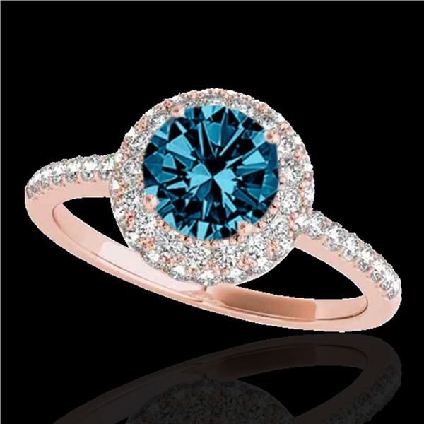 1.6 ctw SI Certified Fancy Blue Diamond Solitaire Halo Ring 10k Rose Gold - REF-126X8A