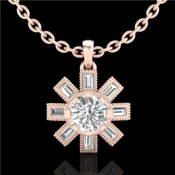 1.33 ctw VS/SI Diamond Solitaire Art Deco Stud Necklace 18k Rose Gold - REF-220X9A