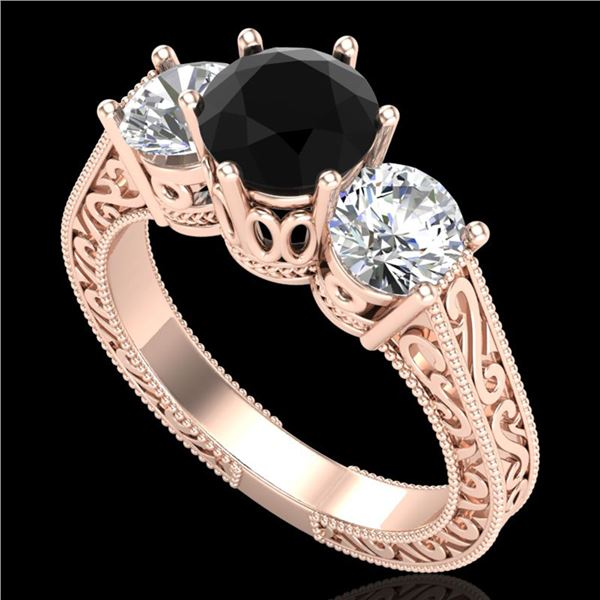 2.01 ctw Fancy Black Diamond Art Deco 3 Stone Ring 18k Rose Gold - REF-241A8N