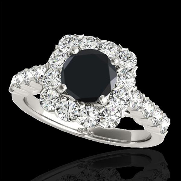 2.5 ctw Certified VS Black Diamond Solitaire Halo Ring 10k White Gold - REF-91W4H