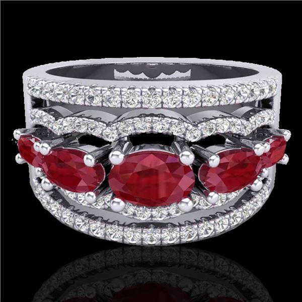 2.25 ctw Ruby & Micro Pave VS/SI Diamond Designer Ring 10k White Gold - REF-81R8K