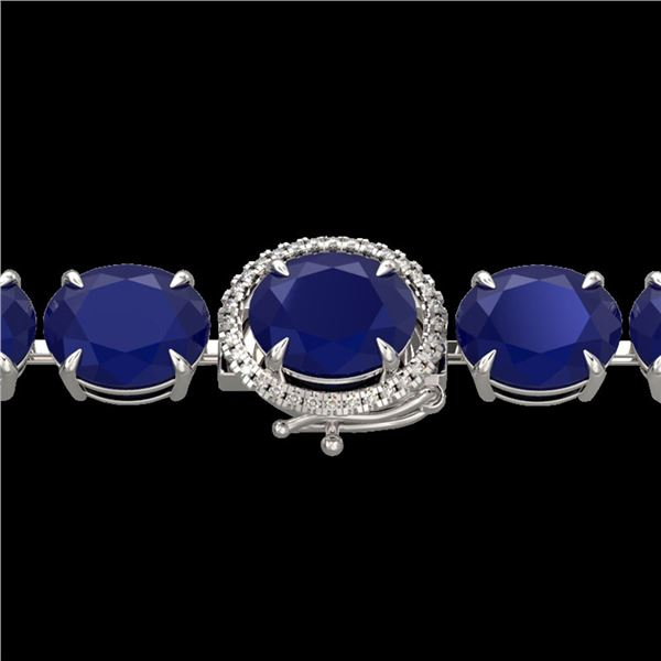 76 ctw Sapphire & Micro Pave Diamond Bracelet 14k White Gold - REF-317H3R