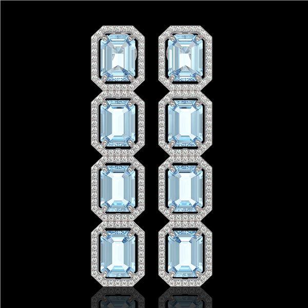 18.99 ctw Sky Topaz & Diamond Micro Pave Halo Earrings 10k White Gold - REF-178G2W
