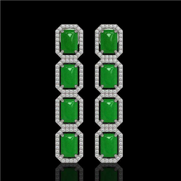 11.93 ctw Jade & Diamond Micro Pave Halo Earrings 10k White Gold - REF-146Y4X