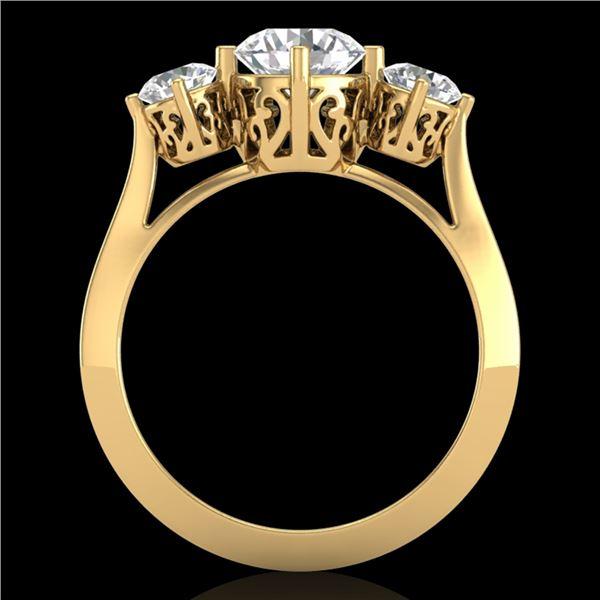 1.51 ctw VS/SI Diamond Solitaire Art Deco 3 Stone Ring 18k Yellow Gold - REF-427G3W