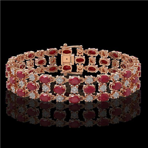 17.74 ctw Ruby & Diamond Row Bracelet 10K Rose Gold - REF-245G5W