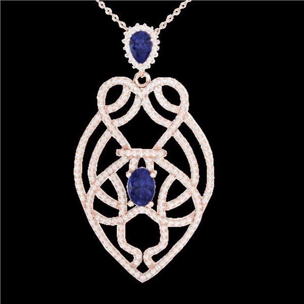 3.50 ctw Tanzanite & Micro VS/SI Diamond Heart Necklace 14k Rose Gold - REF-191K3Y