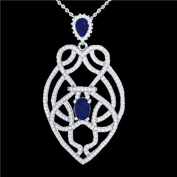 3.50 ctw Sapphire & Micro VS/SI Diamond Heart Necklace 14k White Gold - REF-180N2F