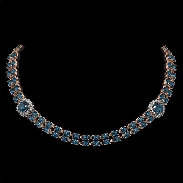 39.55 ctw London Topaz & Diamond Necklace 14K Rose Gold - REF-527H3R