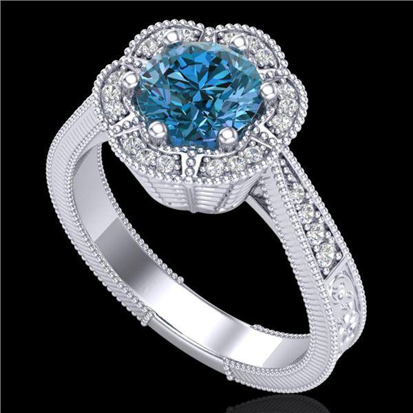 1.33 ctw Fancy Intense Blue Diamond Art Deco Ring 18k White Gold - REF-227W3H