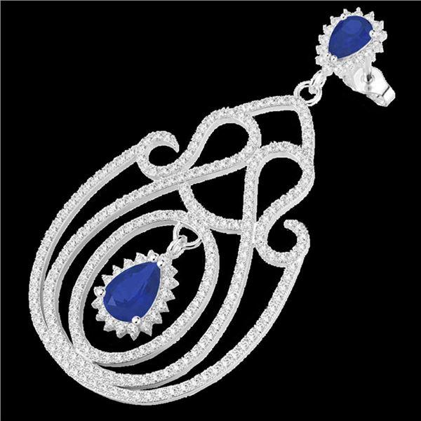6.40 ctw Sapphire & Micro Pave VS/SI Diamond Earrings 14k White Gold - REF-381A8N