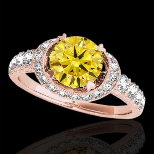 1.75 ctw Certified SI/I Fancy Intense Yellow Diamond Ring 10k Rose Gold - REF-204M5G