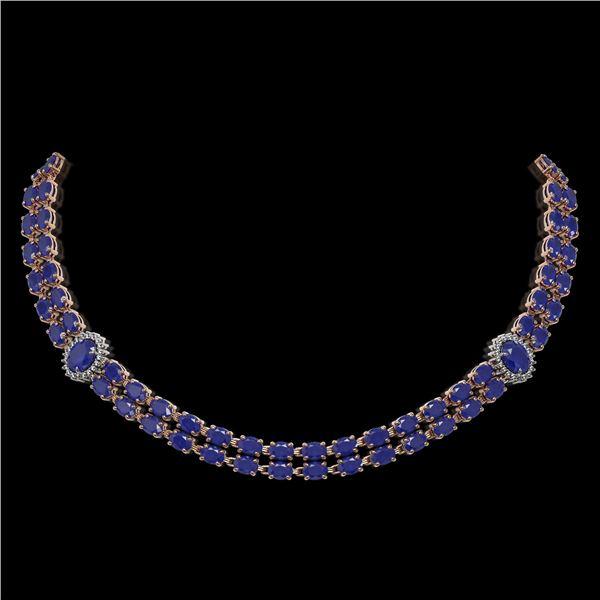 43.13 ctw Sapphire & Diamond Necklace 14K Rose Gold - REF-527Y3X