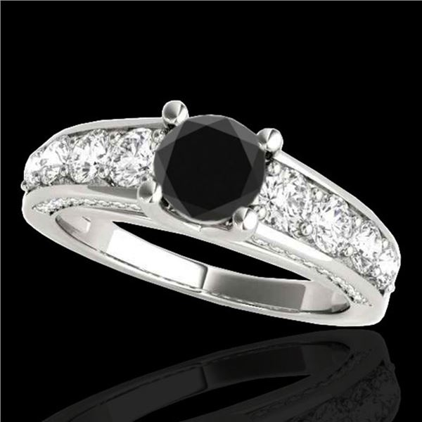3.05 ctw Certified VS Black Diamond Solitaire Ring 10k White Gold - REF-129M5G