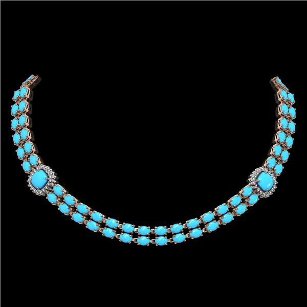 29.85 ctw Turquoise & Diamond Necklace 14K Rose Gold - REF-527A3N
