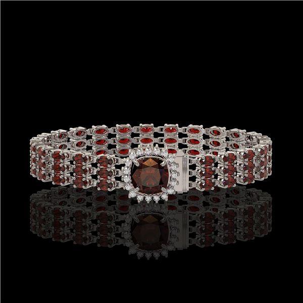 25.08 ctw Garnet & Diamond Bracelet 14K White Gold - REF-281X8A